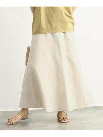 【SALE/70%OFF】OZOC [洗える]麻混フレアスカート オゾック スカート ロングスカート ベージュ