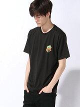 【BROWNY】(M)ヤシ柄バックプリントロゴTシャツ