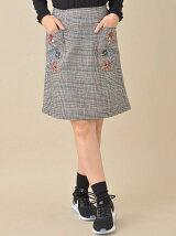 W closet グレンチェックポケット刺繍ミニスカート