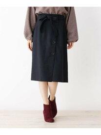 【SALE/60%OFF】grove ウール調合繊ラップ風スカート グローブ スカート スカートその他 ブラック パープル
