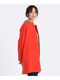I.T.'S. international ノーカラーコート<Super110's Wool> イッツインターナショナル コート/ジャケット ハーフコート オレンジ ベージュ ブルー【送料無料】