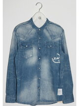 western denim band collar shirt