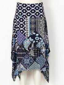 【SALE/30%OFF】Desigual パッチワークスカート デシグアル スカート フレアスカート ブルー【送料無料】