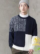 BROWNY/(M)ミックスパネルセーター