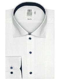 【SALE/50%OFF】BRICK HOUSE by Tokyo Shirts (M)形態安定 ノーアイロン 長袖シャツ ワイド 白×ストライプ織柄 スリム ブリックハウスバイトウキョウシャツ シャツ/ブラウス 長袖シャツ ホワイト
