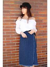 リメイク風ロングラップデニムスカート