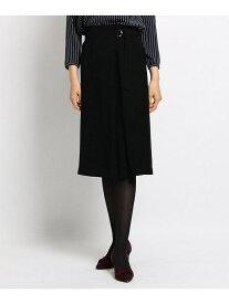 INDIVI 【マシンウォッシュ】サテンクロスラップ風スカート インディヴィ スカート スカートその他 ブラック グリーン ベージュ【送料無料】
