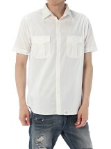 ストレッチブロード半袖ミリタリーシャツ
