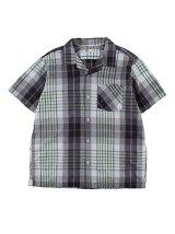 Men's マドラスチェック 半袖オープンカラーシャツ