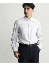 カラミ織りストライプワイドカラーシャツ