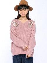 C・ANPU片畦胸刺繍/ニット