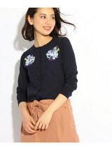 【WEB限定カラーあり】お花刺ニットカーディガン