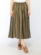 先染めワイドストライプギャザースカート
