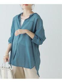 【SALE/61%OFF】frames RAY CASSIN バンドカラーシアーシャツ レイカズン シャツ/ブラウス 長袖シャツ ブルー ベージュ グリーン