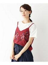 刺繍フェイクスウェードキャミ+Tシャツ