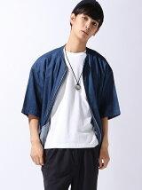 【BROWNY】(M)デニムノーカラー5分袖ジャケット
