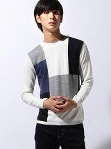 クレイジーカラーパターンニット、Tシャツセット