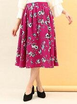 ぼかしフラワーミディ丈ギャザースカート