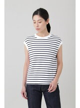 WOMEN'S SUVIN GIZA COTTON FRENCH-SLEEVE STRIPE