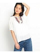 衿ぐり刺繍ブラウスシャツ