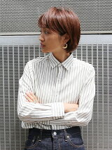【Ca】ウール混ストライプシャツ
