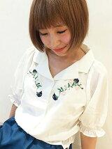 【WEB限定価格】*J刺繍入り開襟ブラウス