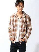 【BROWNY VINTAGE】(M)オンブレオープンカラーネルシャツ