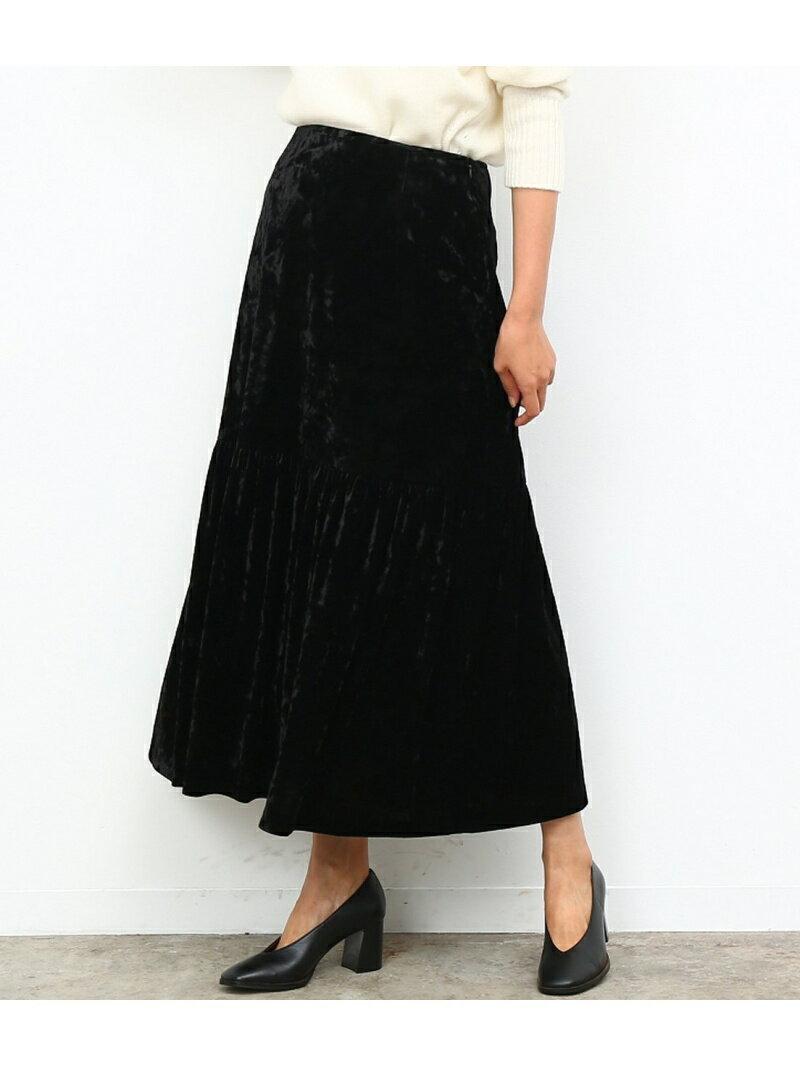 【SALE/70%OFF】ROPE' mademoiselle クラッシュベロアパネルギャザースカート ロペ スカート【RBA_S】【RBA_E】【送料無料】
