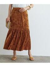 クラッシュベロアパネルギャザースカート