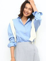 【Oggi10月号掲載】《予約》カフス刺繍入りパールボタンシャツ