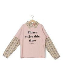 【SALE/57%OFF】repipi armario チェックシャツカサネギTシャツ レピピアルマリオ カットソー Uネックカットソー ピンク ブラック