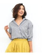 カフス刺繍入りストライプシャツ