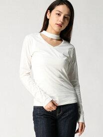 Janiss チョーカーネックロングTシャツ ジャニス カットソー Tシャツ ホワイト レッド グレー ブラック