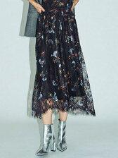 【La】レースプリントマキシスカート