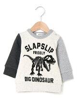 恐竜プリント配色裏毛トレーナー