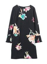 オリジナル花柄プリント袖プリーツサックワンピース
