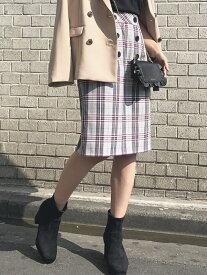 【SALE/10%OFF】ボタン付きチェックタイトスカート ミッシュ マッシュ スカート【RBA_S】【RBA_E】【送料無料】