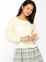 Techichi TERRASSE/ソフトコール 裾シャーリングブラウス
