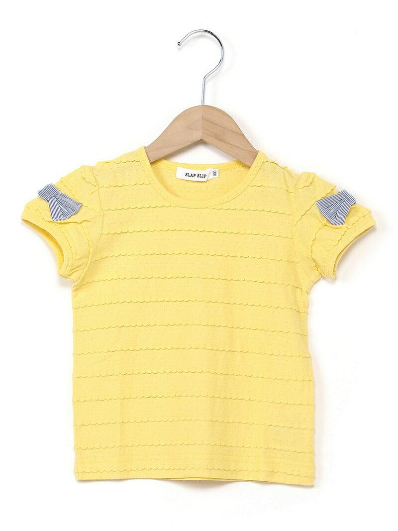 SLAP SLIP SLAP SLIP/タックフロート天竺袖リボンTシャツ ベベ オンライン ストア カットソー