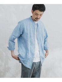 【SALE/50%OFF】DOORS 綿麻ライトオックスバンドカラーシャツ アーバンリサーチドアーズ シャツ/ブラウス シャツ/ブラウスその他 ブルー ベージュ ネイビー【送料無料】
