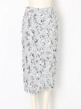 フリンジツイードタイトスカート