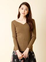 【秋の新作】《ROBE》Vネックリブニットセーター