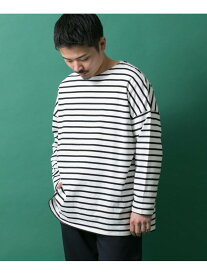 【SALE/54%OFF】ITEMS オーバーサイズボーダーTシャツ アーバンリサーチアイテムズ カットソー Tシャツ ネイビー