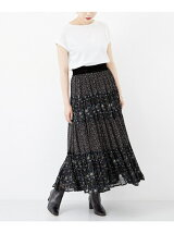 ne Quittez pas GEORGETTE FLOWER PANEL LONG SKIRT