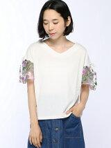 チュール刺繍フレアー袖プルオーバー