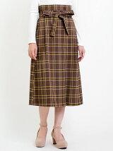 ウエストリボンチェックロングスカート