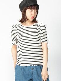【SALE/50%OFF】BROWNY BROWNY/(L)ボーダーパワショルTシャツ ウィゴー カットソー Tシャツ ブラック ブルー レッド