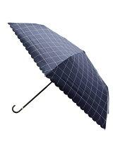晴雨兼用UVチェックスカラップ折り畳み傘