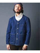 WASHED DENIM NO COLLAR COVER ALL JKT