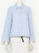 裾リボン短丈シャツ